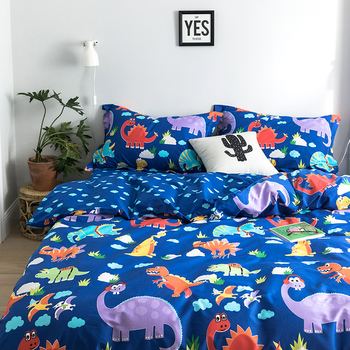 Cotton Children Cartoon Bedding Set For Dinosaur Duvet Cover Pillowcase sheets Warm Soft Home Bedroom Living Room Cover Set #sw