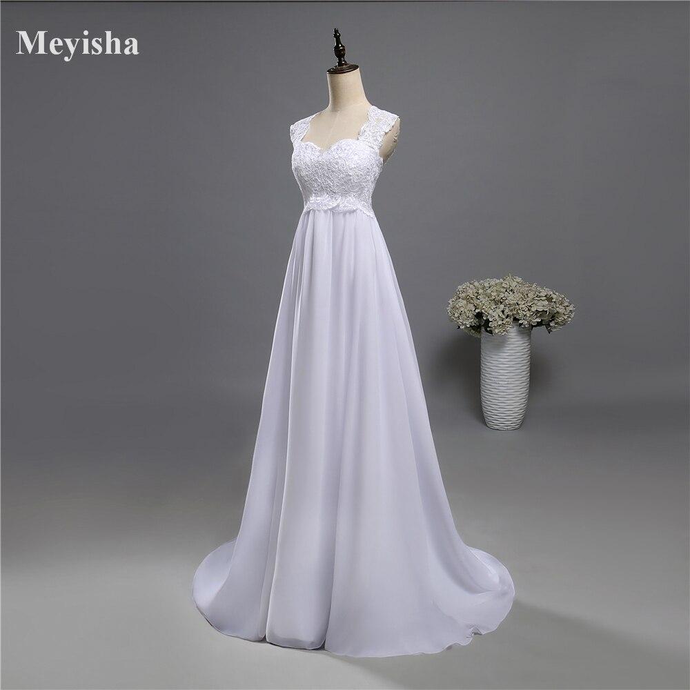 ZJ9060 White Ivory Beach Lace Chiffon Wedding Dresses 2017 with ...