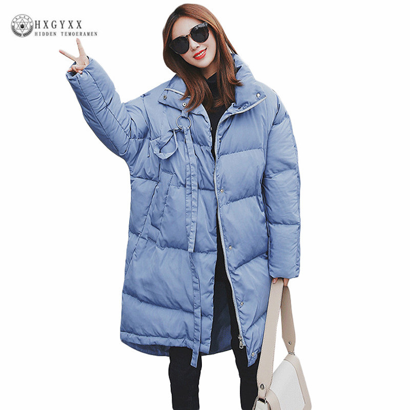 New Fashion Loose Winter Jacket Woman 2017 Long Warm Down Cotton Padded Coat Plus Size Pure Color Zipper Military Parka Okb353 2015 cotton padded elderly warm thickening long cotton padded jacket mens new single breasted wholesale zipper loose coat d10