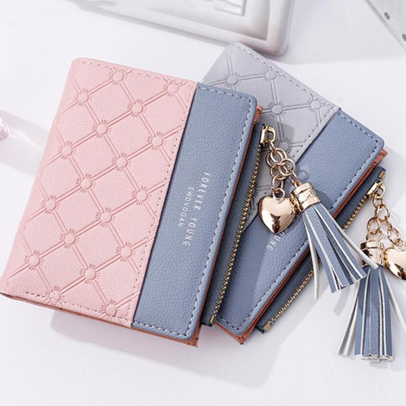 New Tassel Zipper Purse Pink Woman's Wallet Double Color Leather Wallets for Euro Card Holder Money Bag for Girls Women Wallet new brand colors purse plaid leather zipper wallet cards holder wallet for girls women wallet
