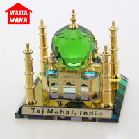 Crystal Taj Mahal Mosque Car Ornaments Desktop Ornaments Indian Building Figurine World Famous Architecture Home Office Decor
