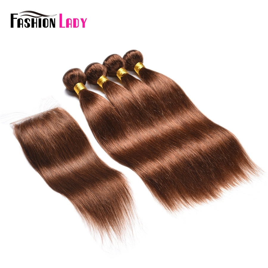Fashion Lady Pre-Colored Malaysian Human Hair Weave Bundles 4pcs With Lace Closure 4# Dark Brown Color Hair Extension Non-Remy