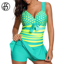 FS Dot Striped High Cut Swimdress Plus Size Tankini Swimsuits Swimwear For Woman Ladies Push Up With Shorts Sport Two Pieces 5XL(China)