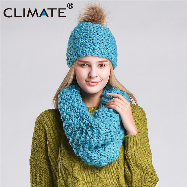 CLIMATE Women Winter Hat and Scarf Set Warm Lady Collar Pom Beanie Sets  Fashion Warm Knit Hat Scarf Set Women Comfortable Scarf c772607e67f