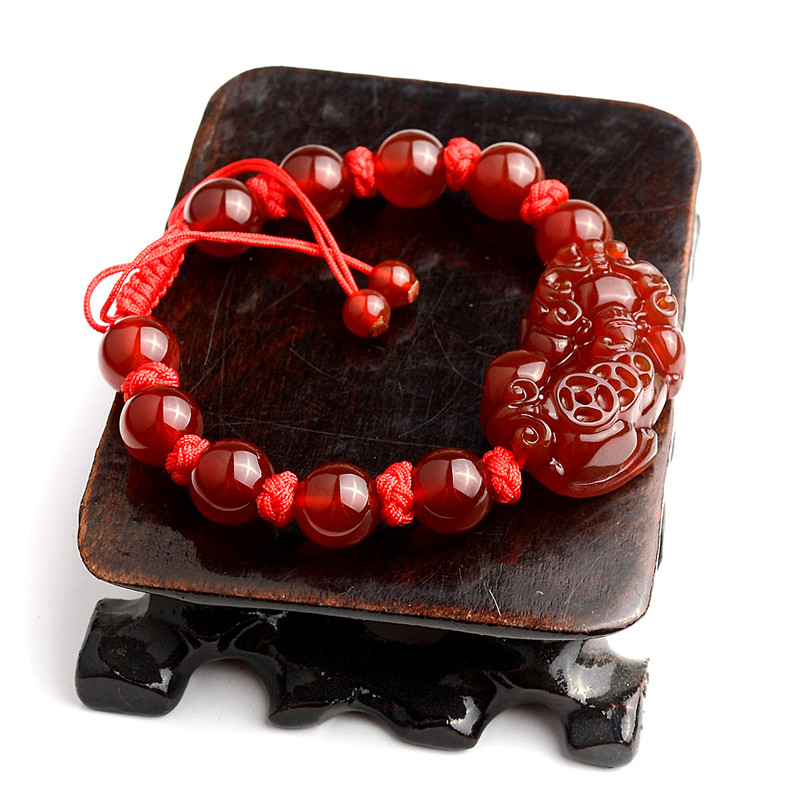 Natural red stone the mythical wild animal bracelet
