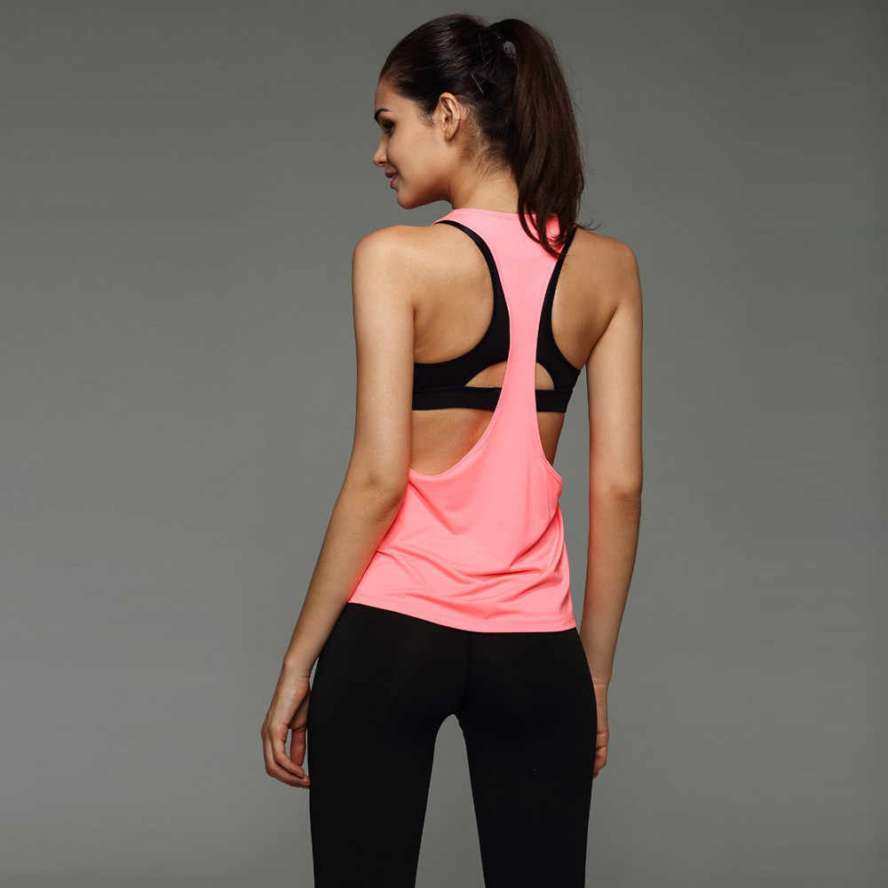 59b81e56a5574 ... 6 Colors Summer Sexy Women s Tank Tops Quick Drying Loose Brethable Fitness  Sleeveless Vest Workout Top