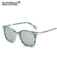 ROUPAI Brand Original 2017 New Fashion Vintage Denim Printing Frame Polarized Sun Glasses For Women Men