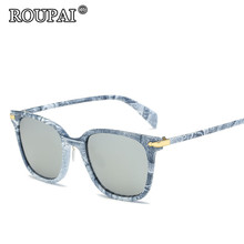 ROUPAI Brand Original 2017 New Fashion Vintage Denim Printing Frame Polarized Sun Glasses For Women Men Shadow Glasses Sunglass
