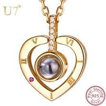 U7 925 Ayar Gümüş Kadın Kolye Nano Kazınmış Seni SEVIYORUM 100 Dil Özelleştirilmiş Takı anneler Günü Için hediyeler SC25