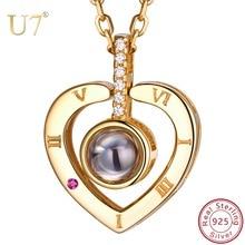 U7 925 Sterling Silver Bạc Phụ Nữ Vòng Cổ Nano Khắc TÔI YÊU BẠN Trong 100 Ngôn Ngữ Tùy Chỉnh Đồ Trang Sức Cho Ngày của Mẹ quà tặng SC25