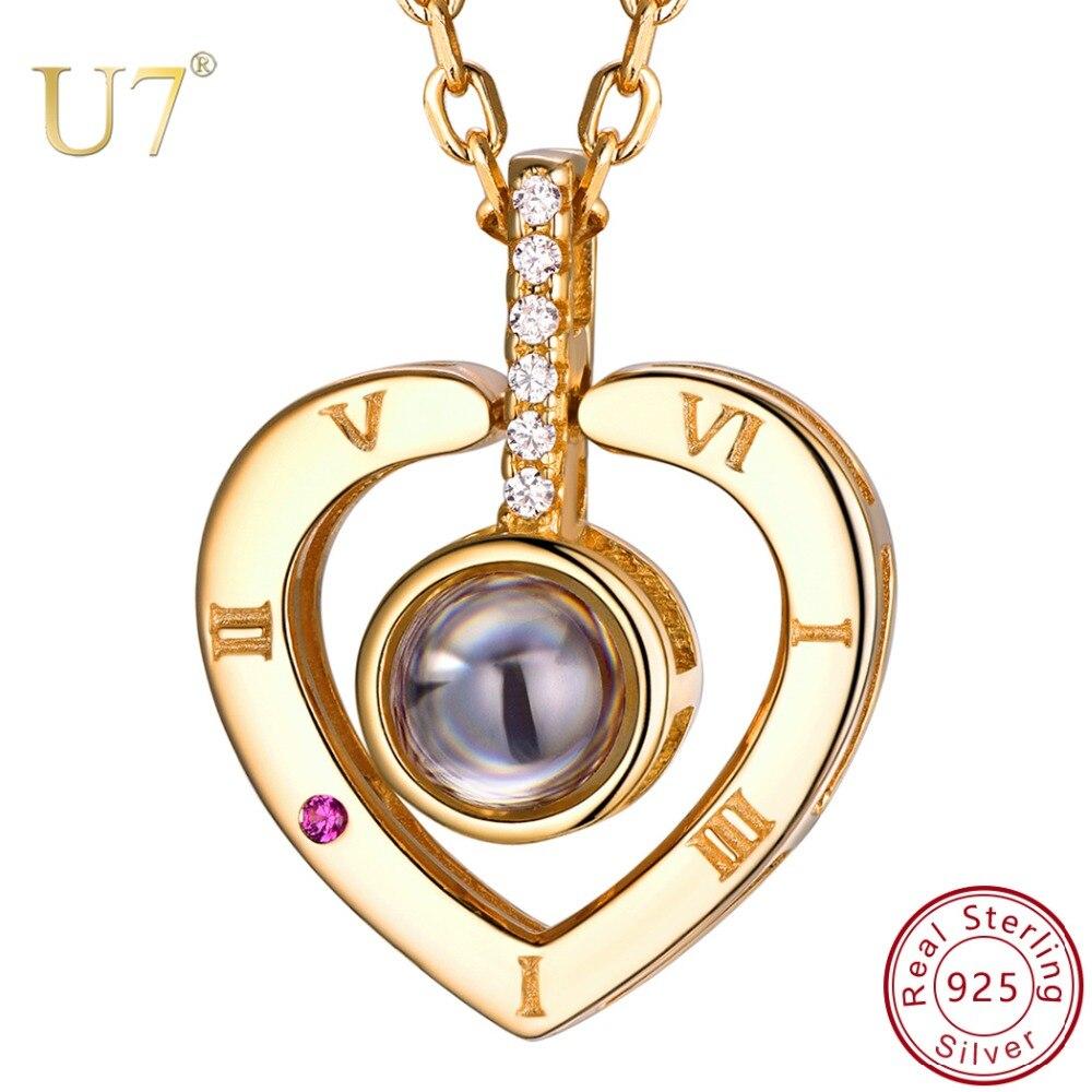 U7 925 collier en argent Sterling pour femmes Nano gravé je t'aime en 100 langues bijoux personnalisés pour cadeaux de fête des mères SC25