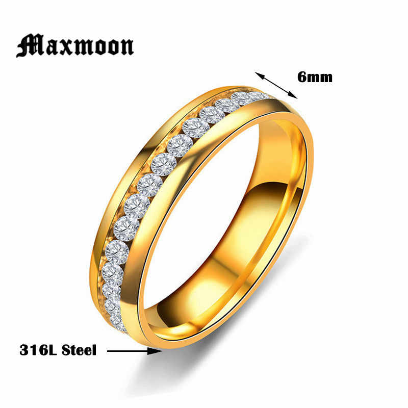 Maxmoon 2018 New Fashion Crystal Rings for men Black Gold Silver Color  Stainless Steel Jewerly Gifts  For Men Women