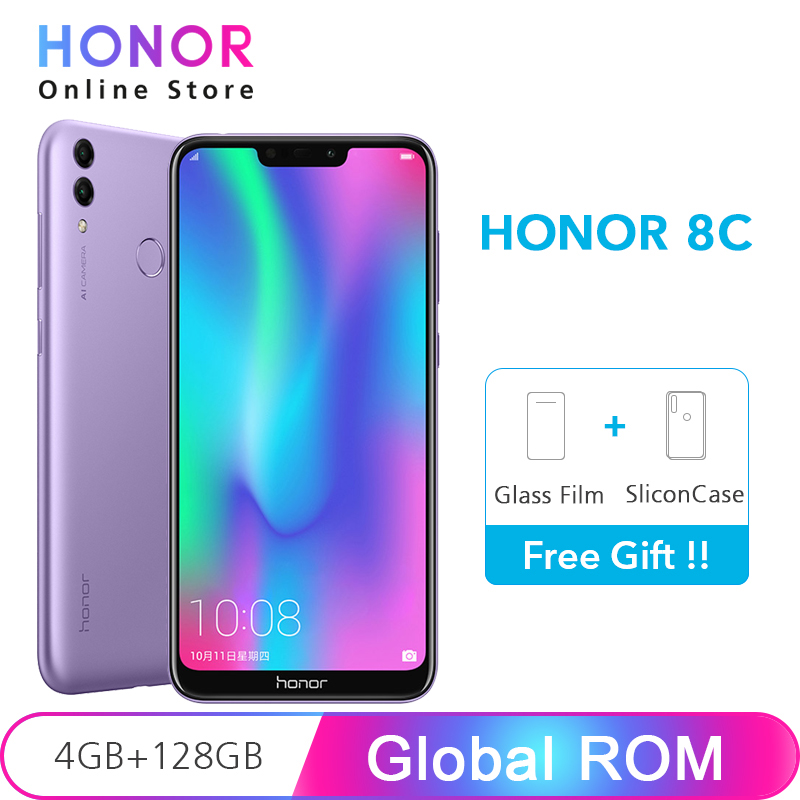 "Global ROM Honor 8C 4GB 128GB 8 C Snapdragon 632 Octa Core 13MP Dual Camera 6.26"" Full Screen 4000mAh Mobile Phone"