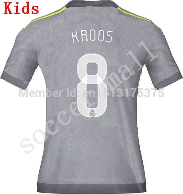 ... kids 2015 Real Madrid Soccer Jersey White Grey Ronaldo Bale James Jersey  1516 Real Madrid Home ... c48617a9f