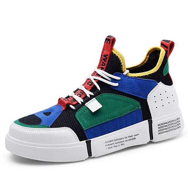 גברים של לגפר נעלי קיץ סניקרס אוויר לנשימה אופנה זכר נעל מעצב ירוק בצבע תחרה עד רך footware היפ הופ