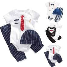 3PCS New Infant Baby Boys Bodysuit+Pants+Hat Boys Cotton Set Clothes 0-24M