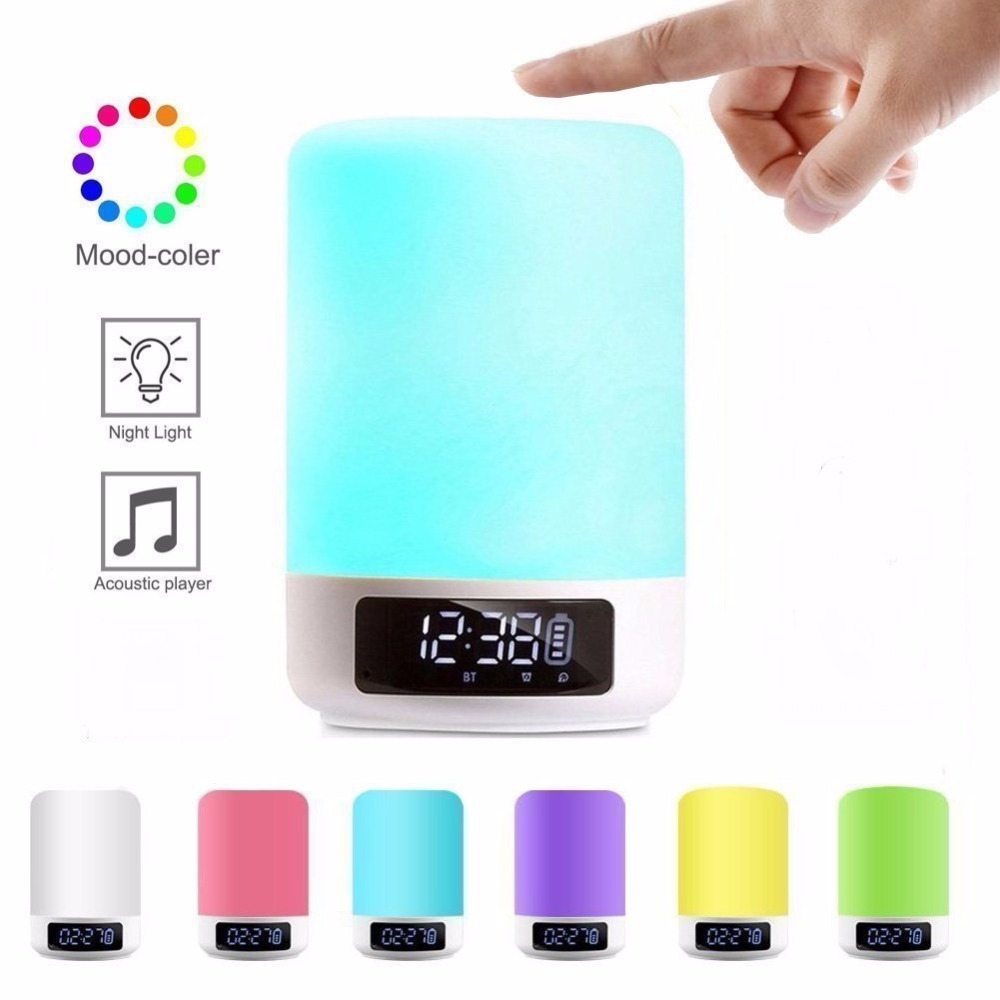 Night Light Bluetooth Speaker Touch Sensor RGB Dimmable Warm White Alarm Clock USB AUX MP3 Player for Kids Party Sleep As gift-in Portable Speakers from Consumer Electronics