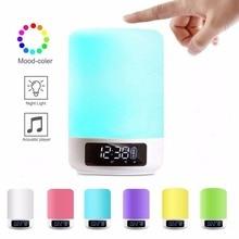 ليلة ضوء سمّاعات بلوتوث اللمس الاستشعار RGB عكس الضوء دافئ أبيض ساعة تنبيه USB AUX مشغل MP3 للأطفال حفلة نوم كهدية