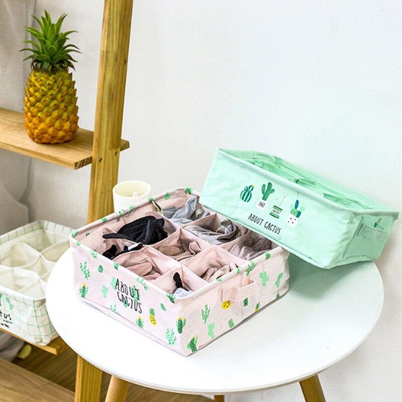 Desktop Storage Basket Cute Printing Organizer Cotton Linen Women Men Socks Bra Underwear Storage Box Cabinet Underwear Storage