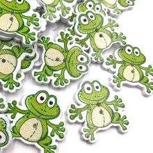 """50 шт./компл. зеленая лягушка деревянные пуговицы в форме 2 отверстия для швейной фурнитуры Костюмы """"сделай сам"""", украшенные игрушками, ручная работа, WB403"""