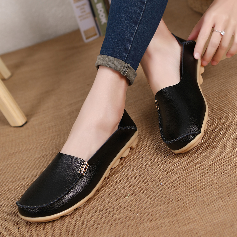 Real Leather Spring Fashion Loafers Women Flats Moccasins Mother Comfortable Ladies Female Footwear Women Casual Shoes DC08 women s shoes hosteven pu leather loafers comfortable shoes women flats moccasins solid ladies casual shoe ballet footwear