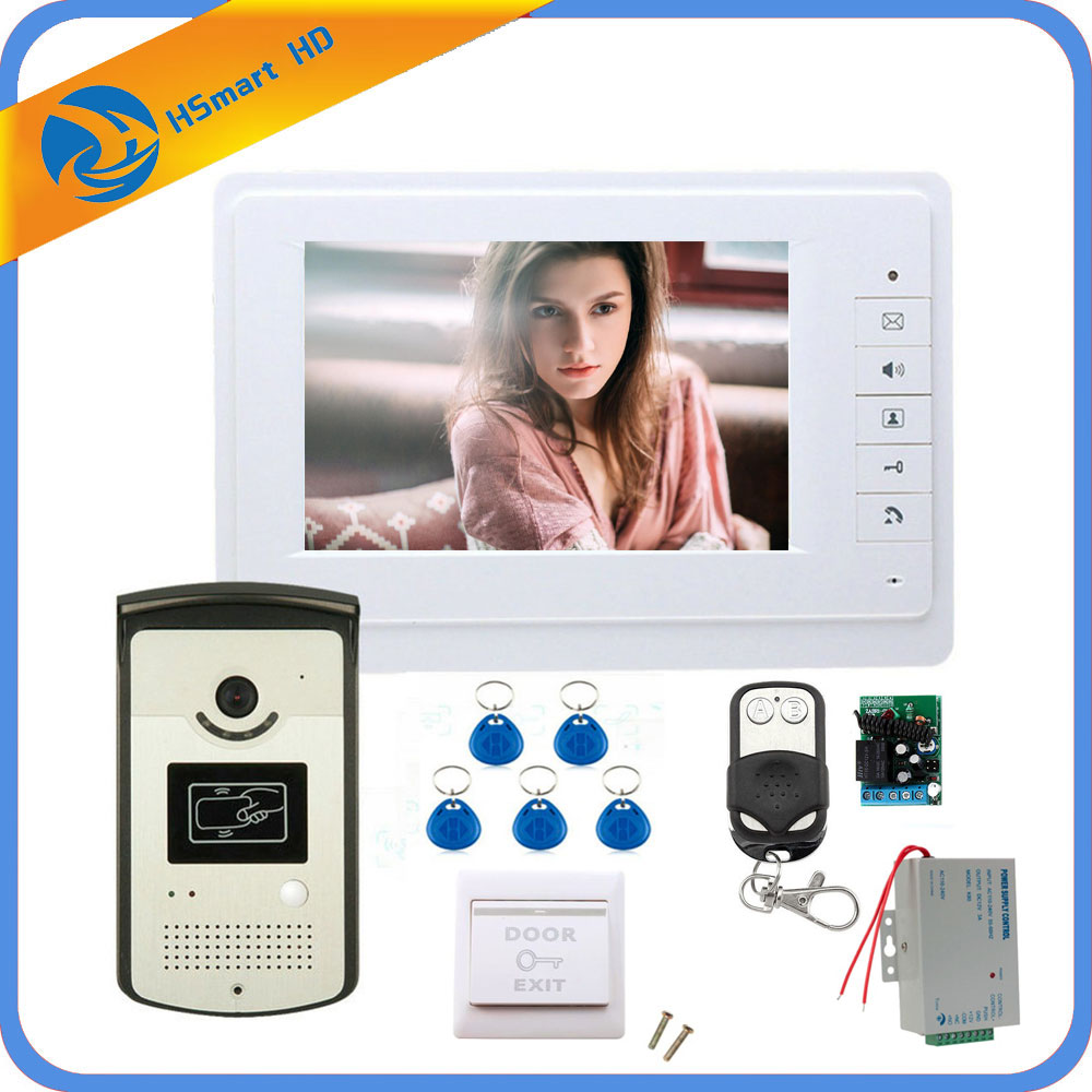 7 inch monitor Speakerphone intercom Color Video Door Phone doorbell access Control System doorphone With Door Access Control