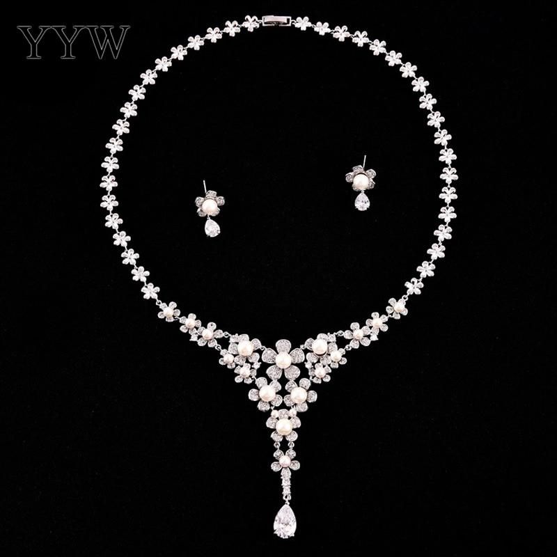 Simulated Pearl Bridal Jewelry Sets Clear Cubic Zircon Daisy Necklace Set Women Earrings Wedding Jewelry Parure Bijoux Femme emmaya luxury freshwater pearl bridal jewelry sets silver color earring necklace set wedding jewelry parure bijoux femme