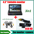 2.4G wireless signal kit car rear view parking camera For Skoda roomster octavia tour fabia + 4.3inch Car mirror Monitor