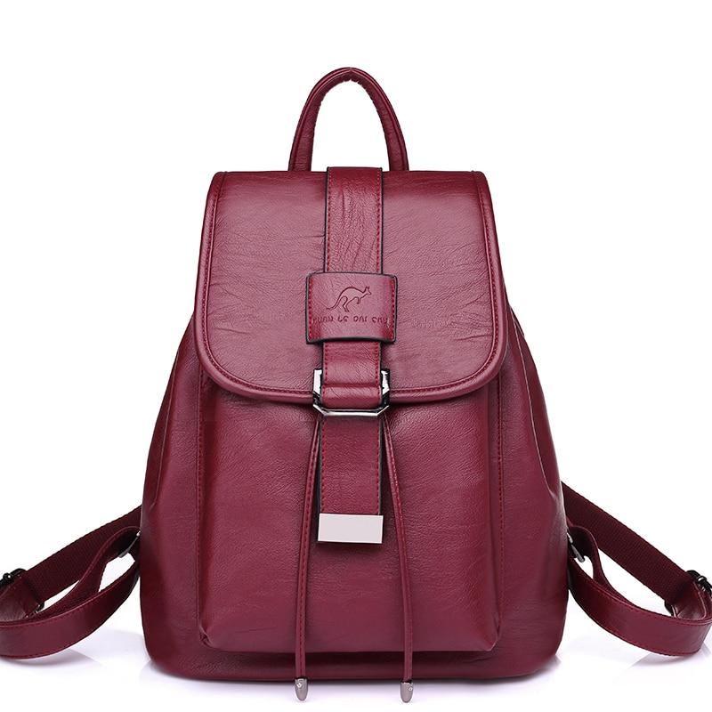 Fashion Korean Women Backpack Leather School Bags For Teenagers Girls Top Handle Backpack Rucksack Mochila Feminina High Quality