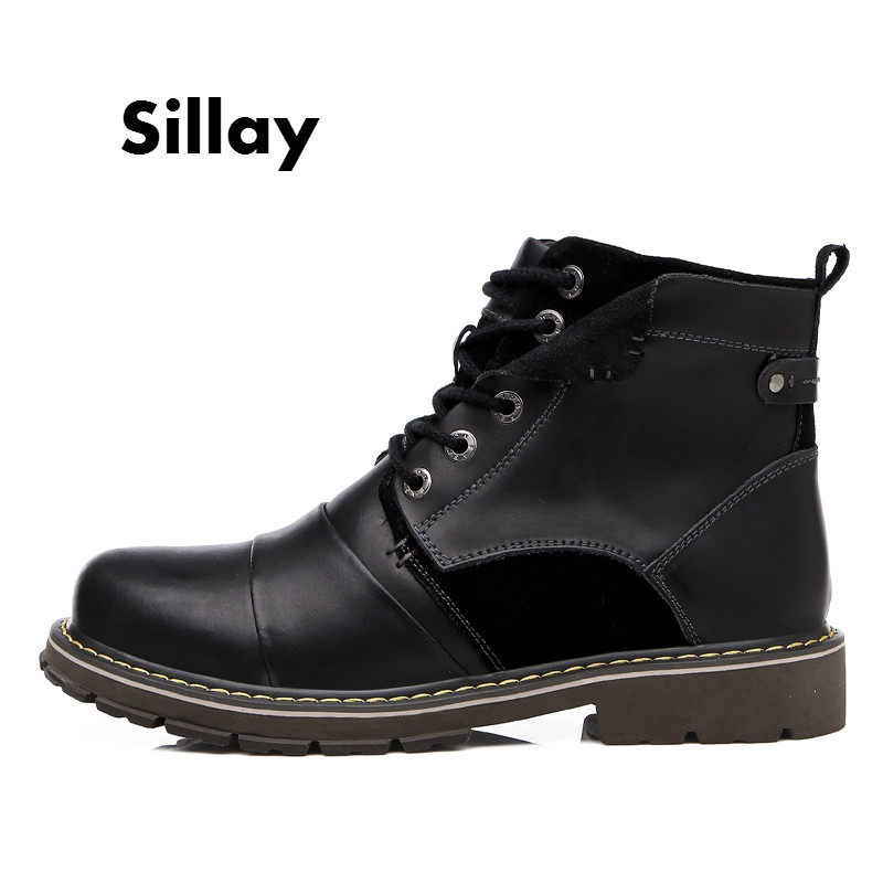 Brand Men Winter Snow Boots Genuine Leather Boots Comfortable with Fur Plus Size Shoes High Quality Anti Slip Work Shoes Lace Up men boots 2015 men s winter warm snow boots genuine leather boots with plus velvet shoes high quality men outdoor work shoes