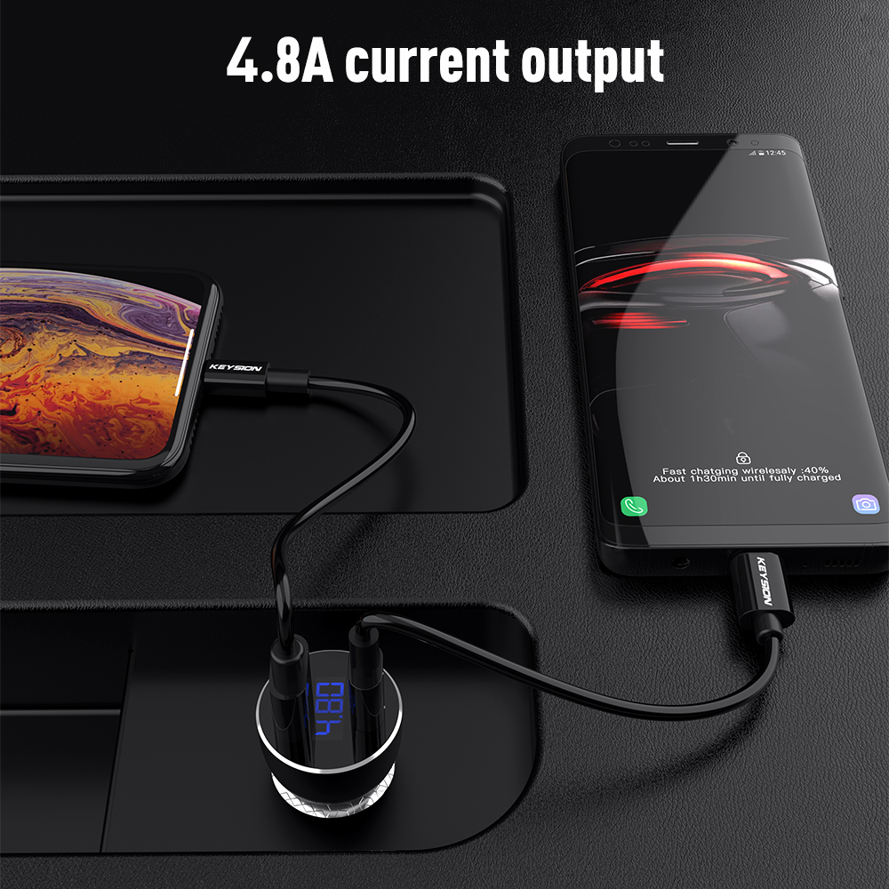 KEYSION Dual USB PD Fast Car Charger for iPhone XS Max XR X 8P QC 3 0 Quick Charger for Samsung Xiaomi With LED Digital Display in Car Chargers from Cellphones Telecommunications