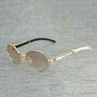 810f31e27 Natural Wood Sunglasses Black White Buffalo Horn Round Sun Glasses Metal  Frame Clear Glasses Oculos Wood