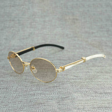 Natural Wood Sunglasses Black White Buffalo Horn Round Sun Glasses Metal Frame Clear Oculos Shades for Summer