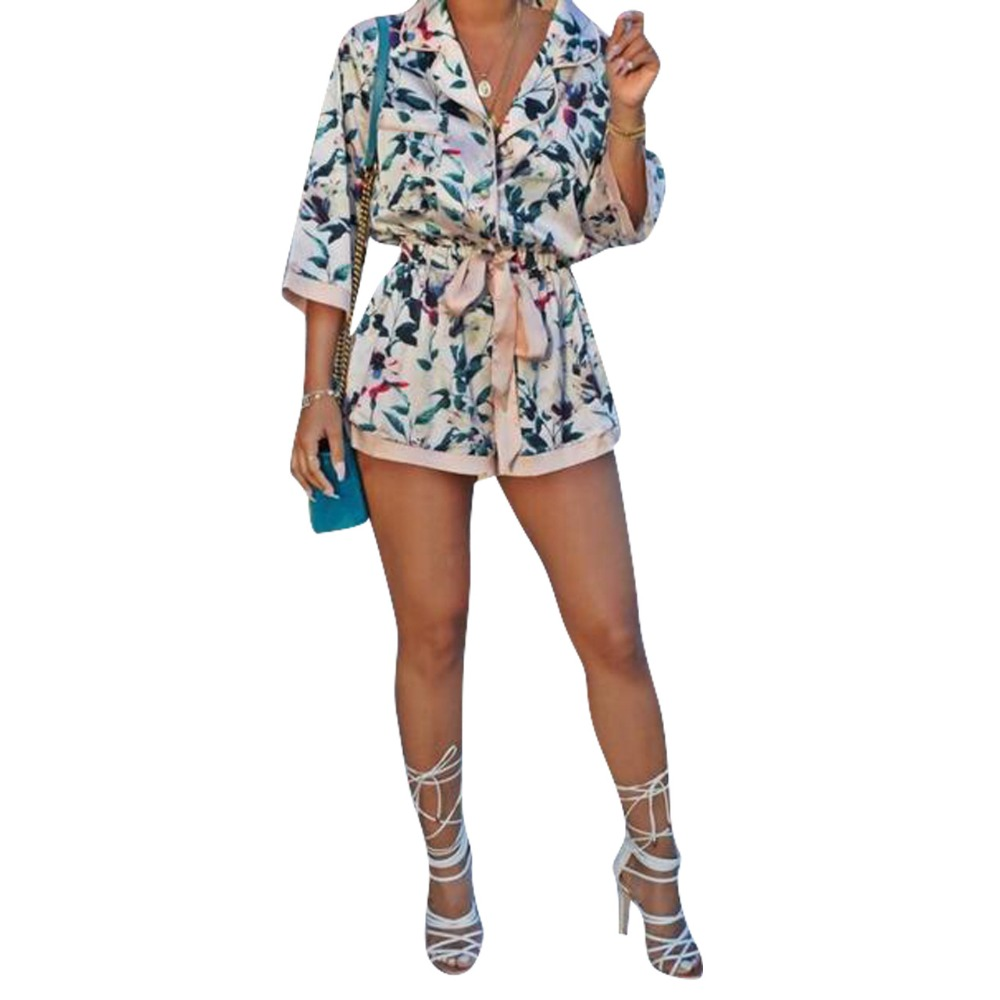 Summer Womens Casual Jumpsuit Floral Print 3/4 Sleeve V Neck Elastic Waist Bow Tie Loose Wide Shorts Rompers S-XL ME Q067