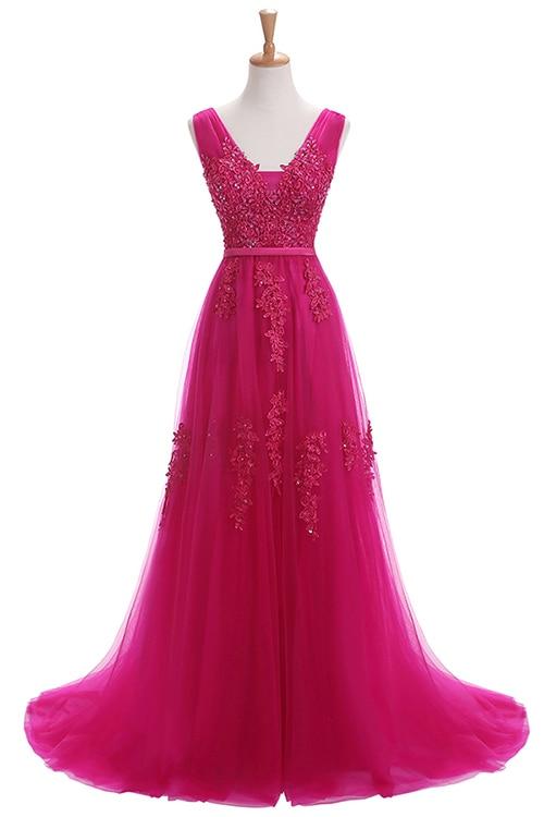 Robe De Soiree SSYFashion, кружевное, с бисером, сексуальное, с открытой спиной, длинное вечернее платье, для невесты, банкета, элегантное, длина до пола, для вечеринки, выпускного вечера - Цвет: 640 Rose Red