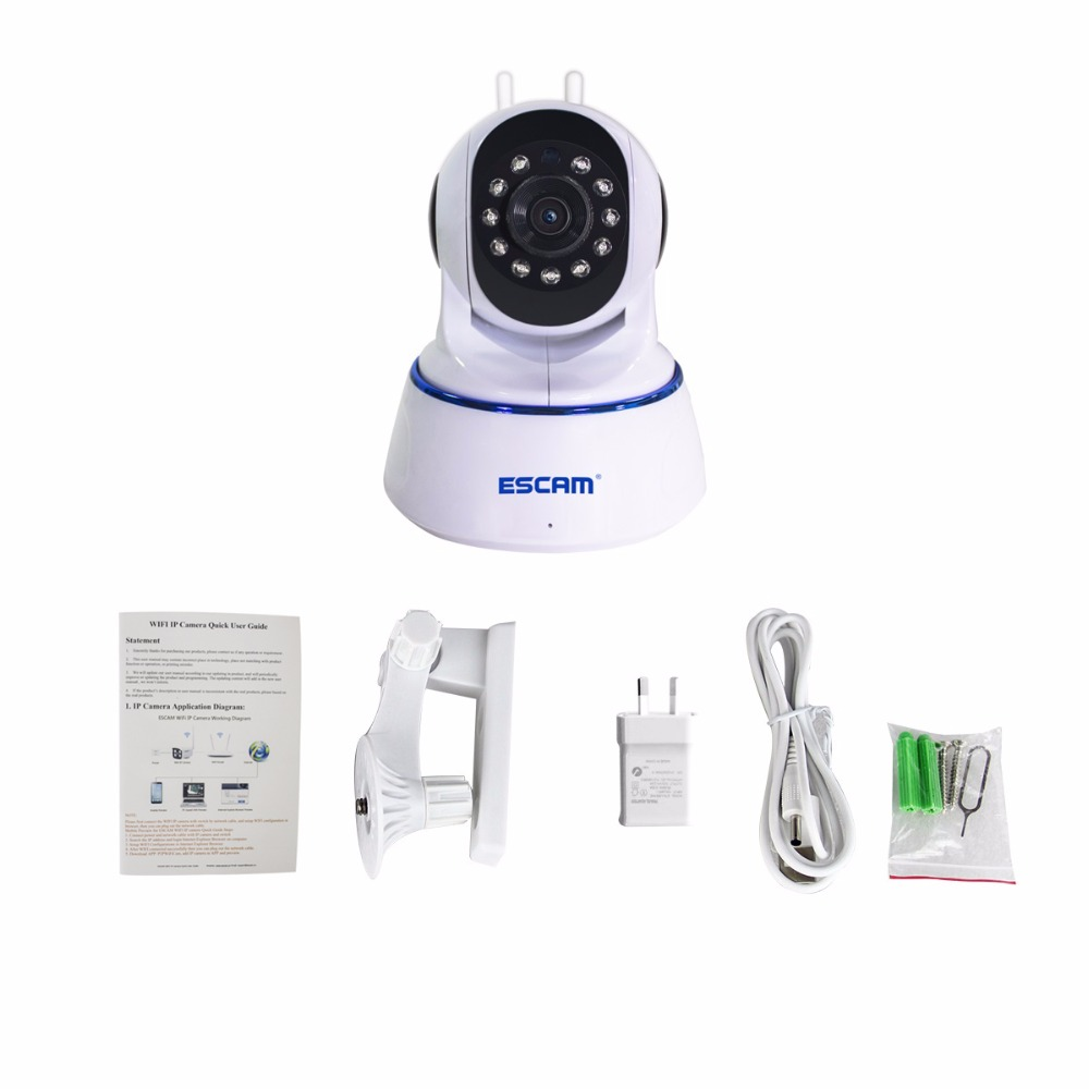 цена на Escam QF003 HD 1080P Mini WiFi IP Camera Pan&Tilt CCTV security Camera P2P IR Cut Two Way Audio Micro SD Card Slot Night vision