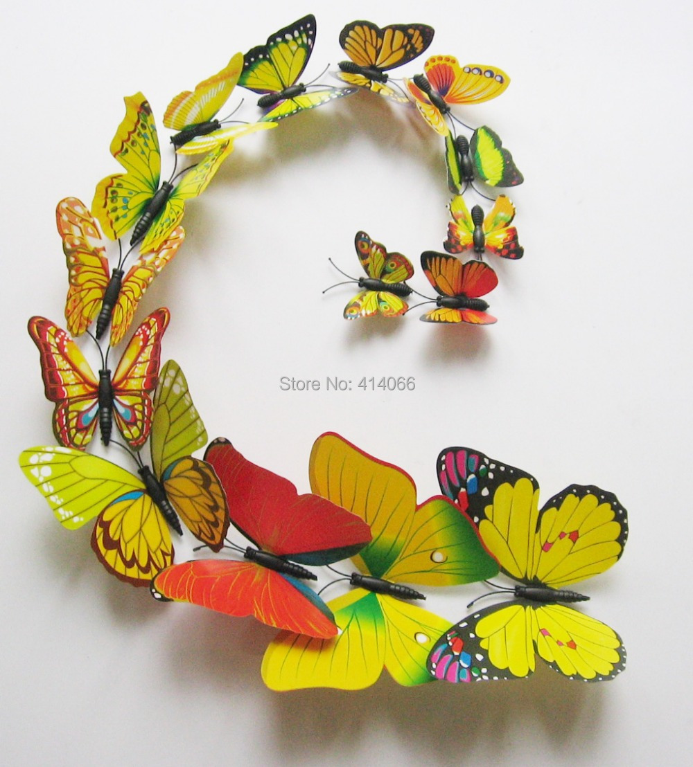 Best Free shipping Home Decoration 12 Pcs DIY 3D Magnetic Butterfly  FM74