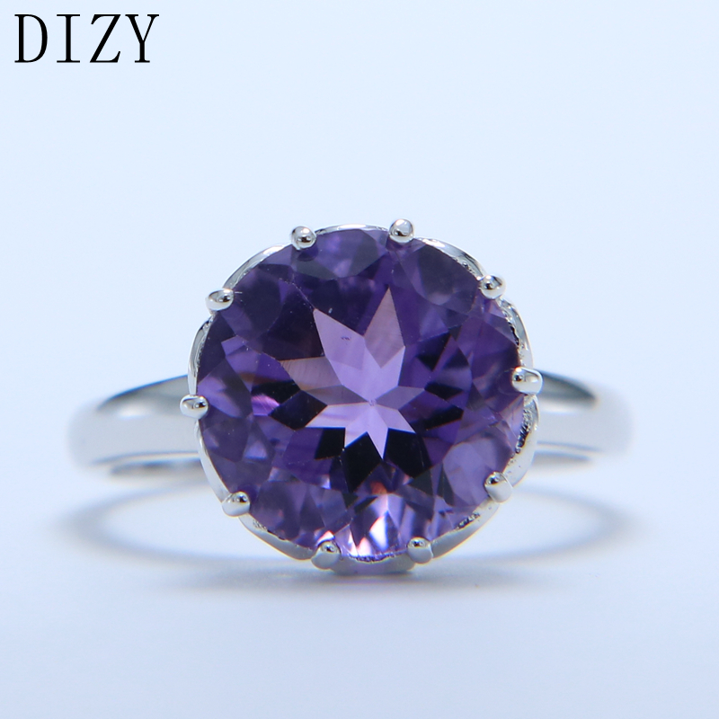 DIZY Natural Purple Amethyst Ring Solid 925 Sterling Silver Round Cut Gemstone Ring For Women Wedding Gift Engagement Jewelry