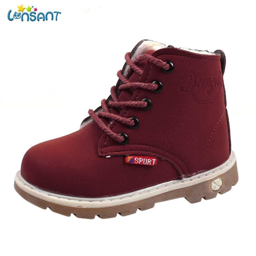 LONSANT New 2018 Children Grils Boys Newborn Children Warm Boys Girls Martin Sneaker Boots Kids Baby Casual Shoes