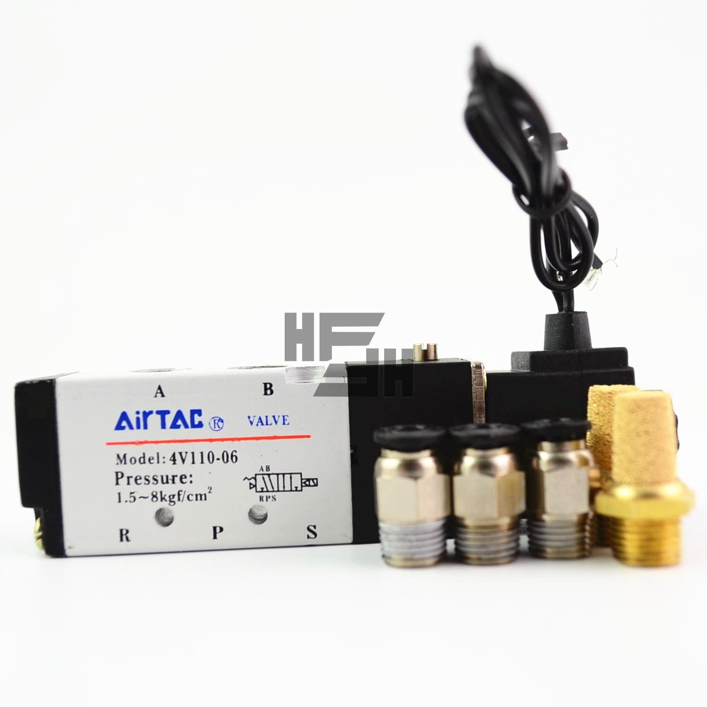 AIRTAC 4V110-06 5 Way 2 Position 1/8 Pneumatic Solenoid Valve DC 24V  12V AC 110V AC220V Joint free combinationAIRTAC 4V110-06 5 Way 2 Position 1/8 Pneumatic Solenoid Valve DC 24V  12V AC 110V AC220V Joint free combination