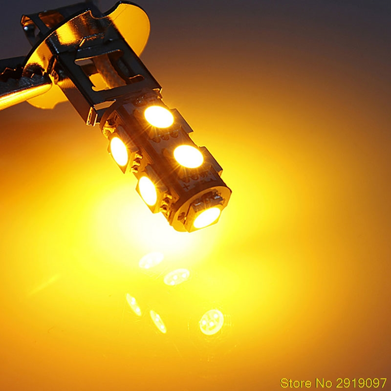 New Arrive 1PC DC 12V H3 5050 9 LED Cornering Lamp Fog Head Light Lamp Bulb Pure Yellow Drop Shipping Support