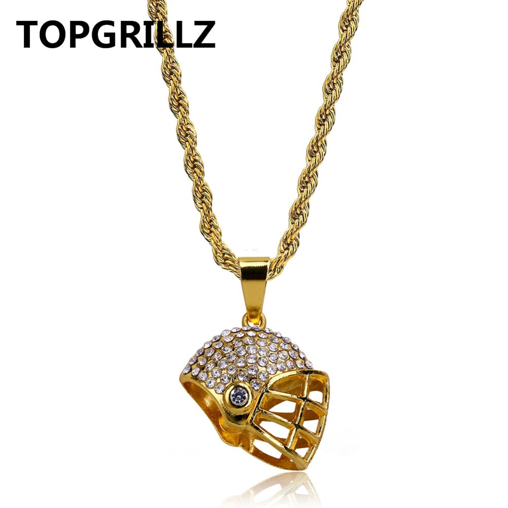 TOPGRILLZ HipHop New Fashion Sport Football Paseball Helmet Necklace Pendant Gold Color Rope Chain Necklace Gift For Male Female