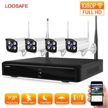 LOOSAFE  CCTV Security Wireless Camera NVR Kit System Outdoor 2.0MP Waterproof P2P Wifi Surveillance