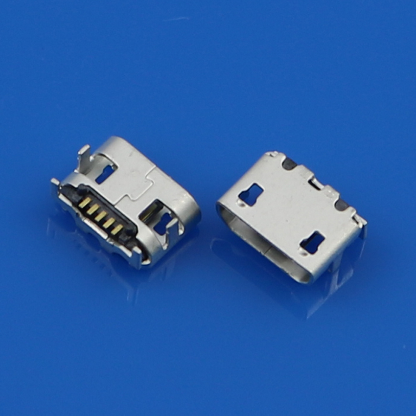 2-100PCS 5P 5-PINS Micro USB Socket Jack USB Connector With Big Ox Horn For Netbook / Tablet PC Tail Charging Ports