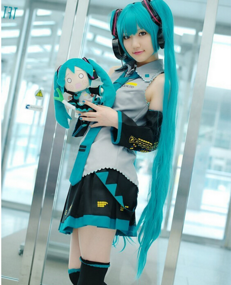 Ensemble complet Cosplay vocaloïde Hatsune Miku Costume Cosplay tenues Anime Cosplay harajuku Costumes (robe + socks + gantelets + cravate + ceinture)