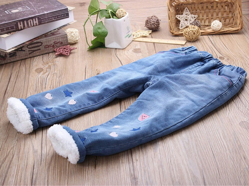 New Girls Winter Denim Jeans Baby Embroidery Warm Jeans Kids Elastic Waist Thick Jeans Girls Winter Trousers Child Warm Pants