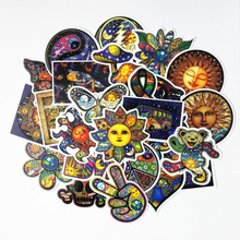 TD ZW 25Pcs/lot Colorful Sun Moon Wishing World Peace Stickers For Snowboard Laptop Luggage Bicycles Backpack Notebook Pegatinas