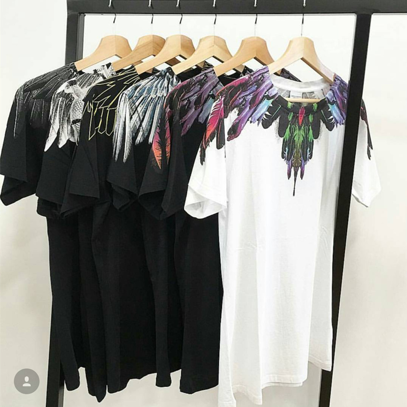 Marcelo Burlon T Shirts Men Women 1:1 Italy County Of Milan Feather Wings MB T-shirt RODEO MAGAZINE  Tee Marcelo Burlon T Shirts kevin new design women watches fashion black round dial stainless steel band quartz wrist watch mens gifts relogios feminino