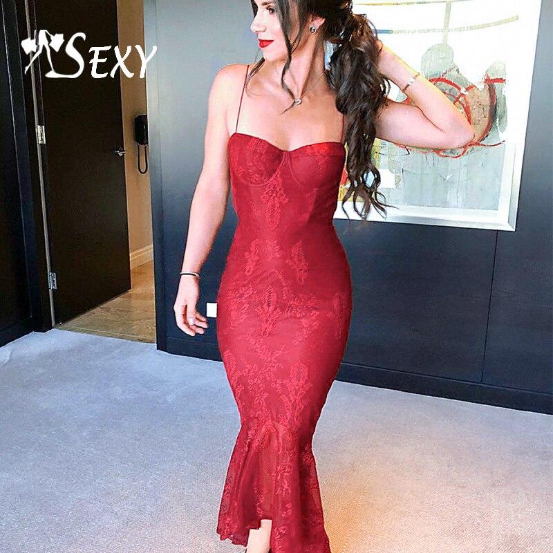Gosexy Women Bandage Dress Sexy Sleeveless Lace Maxi Spaghetti Strap Strapless Celebrity Party Club Dress 2019
