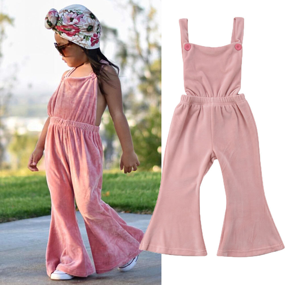 cb4c7aaf3e9c Pink Newborn Toddler Baby Girl Sleeveless Backless Velvet Romper Jumpsuit  Playsuit Outfits Bell bottom Children Clothes-in Rompers from Mother   Kids  on ...